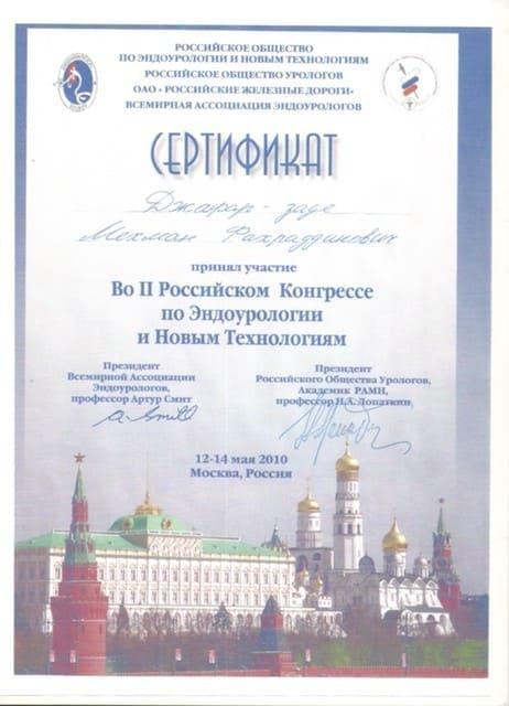 Сертификат об участии в конгрессе, Джафарзаде Мехман Фахрединович